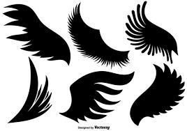 漫画天使の翼のベクトルセットイラスト無料ダウンロード著作権フリーで