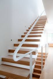 Luxurious Wooden Step Foot Floating Modern Staircase With White Pipe Handle  Stairs And White Wall Painted Color Schemes