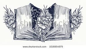 open book and roses flowers tattoo and t shirt design symbol of education