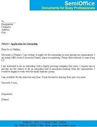 Internship Application Letter Application Format For Internship