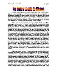 no rules leads to chaos lord of the flies gcse english  page 1 zoom in