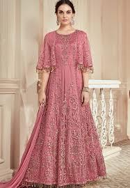 Designer Anarkali Suits Uk Pink Heavy Net Embroidered Long Designer Anarkali Suit 907