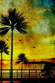palm tree vintage painting sunset silhouette trees old