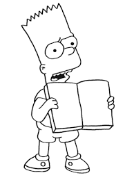 bart is reading a book coloring page