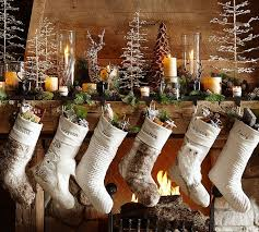 Woodland Christmas stockings by Pottery Barn. use front space of  display/use large wood