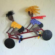 custom made handmade upcycled metal tandem bicycle wall art sculpture on bike wall artwork with hand crafted handmade upcycled metal tandem bicycle wall art