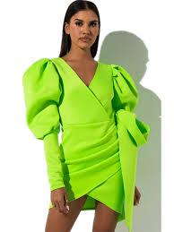 Lime Green Mini Bodycon <b>Dress Women Clothes</b> 2019 <b>Dresses</b> ...