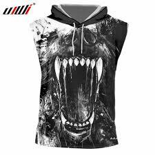 <b>UJWI</b> Dropshipping T shirt With Hood Men 3d Print Roaring Skull ...