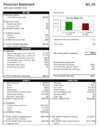 Free Personal Financial Statement Template Investment