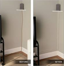 use trim painted the same color as your walls to hide electrical wires (no  helpful link here - just the photo idea) wall fan in bedroom