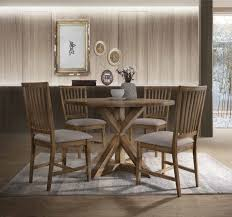 5 pc wallace ii weathered oak finish wood 48 dia round dining table set this set includes the table and 4 side chairs table measures 48 dia x 30 h