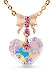 in stock 18k gold plated necklace with bowknot and austria crystal heart pendant mauve 400mm