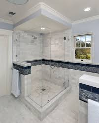shower stall designs bathroom mediterranean with blue tile crown molding beeyoutifullifecom