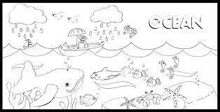 Printable Ocean Waves Coloring Pages Fish Themed Marine Life For