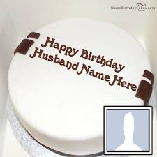 Romantic Birthday Cake For Husband With Name And Photo Cakes And