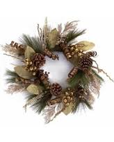 24 brown and gold mixed foliage pine cone berries and ribbon artificial christmas wreath