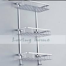 stainless steel bathroom shelves stainless steel bathroom shelf stainless steel three tiers rack with hooks in