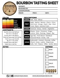 Bourbon Flavor Chart Bourbon Tasting Sheet Breaking Bourbon