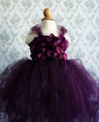 flower girl dress deep purple tutu dress flower top hydrangea top toddler tutu dress