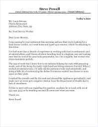 cover letter for food service food service cover letter sample