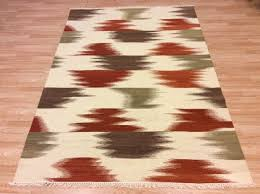 details about cream red green modern abstract handwoven wool kilim dhurrie rug 160x230cm 60 of