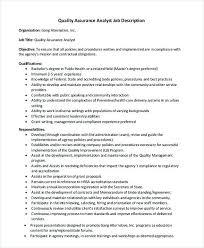 Quality Assurance Analyst Job Description 1 Quality Assurance