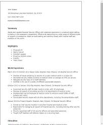 Security Officer Resume Stunning Security Officer Resume Sample Ideal Professional Hospital Security