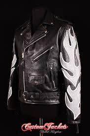 men s brando black with grey white flames real cowhide leather motorcycle motorbike biker jacket