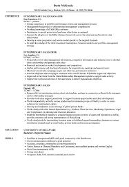 Intermediary Sales Resume Samples Velvet Jobs