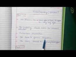 story writing format cl 9 cl 10