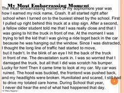 embarrassing moment essay examples  embarrassing moment essay examples