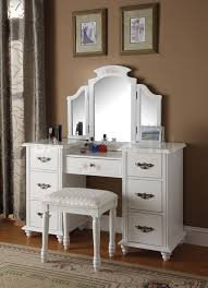 Bedroom Simple White Makeup Vanity Table With Lighted Mirror For