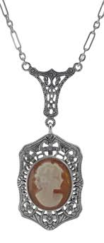 trufili whole filigree jewelryhand carved italian shell cameo filigree necklace sterling silver fn 69 sh