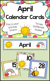 April Calendar Cards Classroom Calendar Preschool