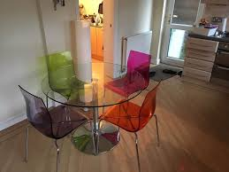 john lewis gl dining table and 4 coloured gel chairs in
