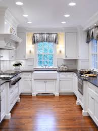 cottage kitchen ideas. Awesome Small Cottage Kitchen Designs Presenting Beautiful Recessed Ceiling Light Decor And U Shaped White Maple Wood Cabinets With B Ideas
