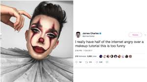 james charles does it pennywise makeup tutorial and gets dragged
