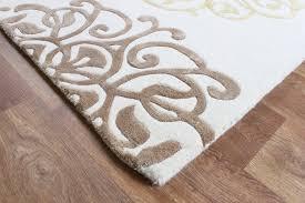 matrix cream gold thick wool petal rug max44