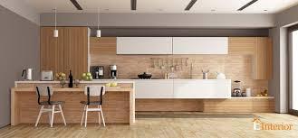 white and brown modular kitchen design