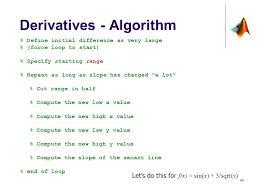40 derivatives algorithm