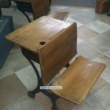 silent giant antique oak student school desk with cast iron base 1900 1950 photo our finds school desks desks and iron