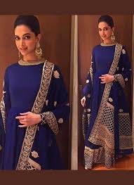 Frock Suit Neck Design Beautiful Navy Blue Silk Georgette Boat Neck Anarkali Suit