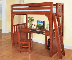 wooden loft bunk bed with desk and workspace underneath bed with office underneath