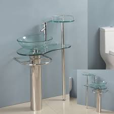 29 inch wall mounted single chrome metal pedestal bathroom vanity include clear vessel sink faucet