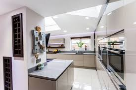 American Homestyle Kitchen Funky Gloss White Handleless With Oak A Homestyle Kitchens