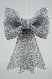 Große Schleife Glitzer Silber 32 Cm X 42 Cm