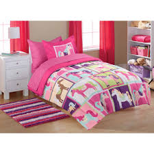 mainstays kids pink horsey coordinated bed in a bag 1 each walmart