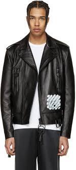 off white black leather diagonal carryover biker jacket men new arrival newest