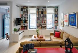 new york built in book with cotton decorative pillows living room contemporary and recessed lighting art