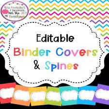 Editable Binder Covers Spines Rainbow Chevron Theme Tpt